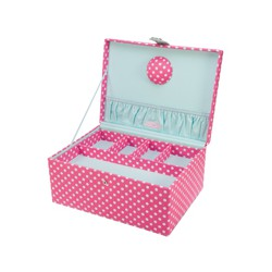 LARGE POLKA DOT SEWING BOX 31x23x14.5