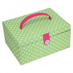 LARGE GREEN POLKA DOT SEWING BOX 31x23x14.5