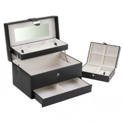 BOUTIQUE LARGE BLACK AUTOTRAY JEWELLERY BOX
