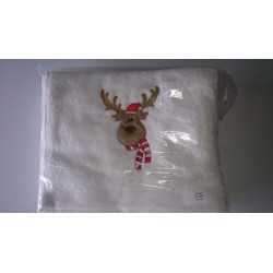 GASTENDOEK 30 x 50 KERST WIT RENDIER (10 pcs)