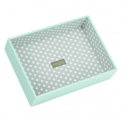 Aqua/Grey Polka Dot Deep 25 X 18 X 6 Cm