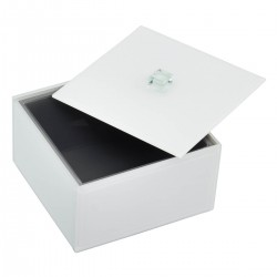 WHITE GLASS SQUARE DEEP BOX WITH LID
