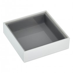 WHITE GLASS SQUARE SHALLOW TRAY