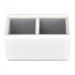 WHITE GLASS 1/4 SIZE BRUSH CADDY