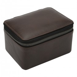 LARGE ZIPPED WATCH BOX - BROWN