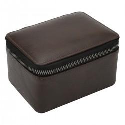 LARGE ZIPPED WATCH BOX - BROWN