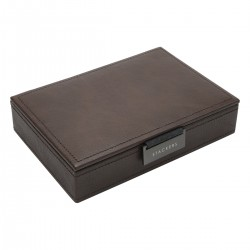 LIDDED MINI CUFFLINK BOX - BROWN