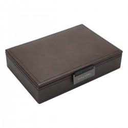 LIDDED MINI CUFFLINK BOX - BROWN