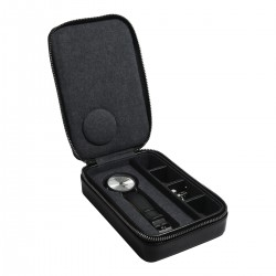 ZIPPED TRAVEL WATCH & CUFFLINK BOX - BLACK