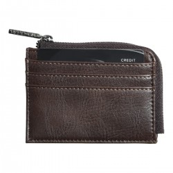 ZIPPED ID CASE BROWN