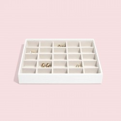 STACKERS CHALK WHITE CROC 25 SECTION JEWELLERY BOX