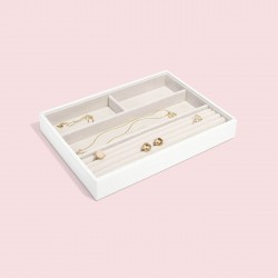 STACKERS CHALK WHITE CROC 4 SECTION JEWELLERY BOX