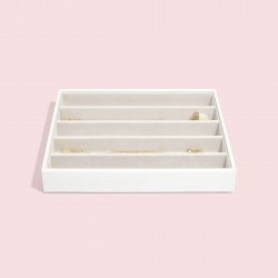 STACKERS CHALK WHITE CROC 5 SECTION JEWELLERY BOX