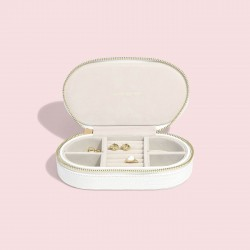 STACKERS CHALK WHITE CROC OVAL TRAVEL BOX