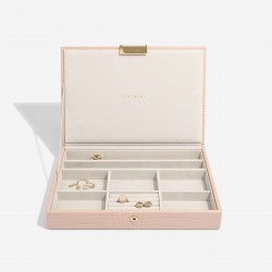 STACKERS PASTEL PINK CROC LIDDED JEWELLERY BOX