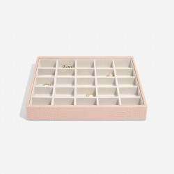 STACKERS PASTEL PINK CROC 25 SECTION JEWELLERY BOX