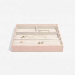 STACKERS PASTEL PINK CROC 4 SECTION JEWELLERY BOX