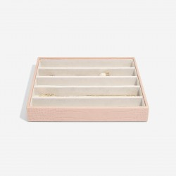 STACKERS PASTEL PINK CROC 5 SECTION JEWELLERY BOX