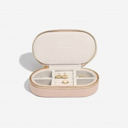STACKERS PASTEL PINK CROC OVAL TRAVEL BOX