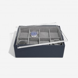 STACKER NAVY BLUE 8 PIECE WATCH BOX WITH ACRYLIC LID
