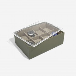 STACKER OLIVE GREEN 8 PIECE WATCH BOX WITH ACRYLIC LID