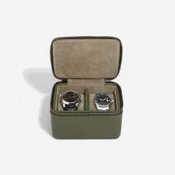 STACKER OLIVE GREEN DOUBLE WATCH ZIPPED WATCH BOX
