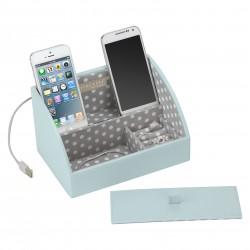 Mini Charging Valet Aqua/Grey Polka Dot